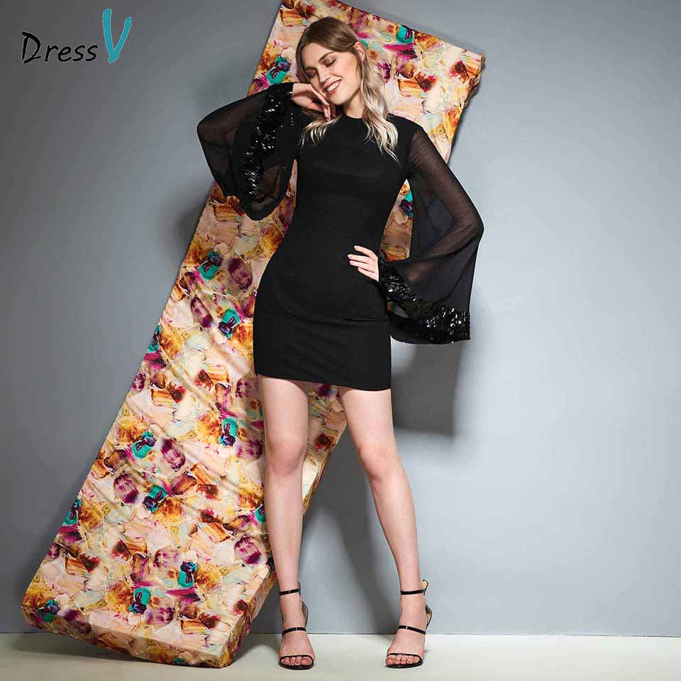 Dressv black scoop neck long sleeves   cocktail     dress   sheath zipper up wedding party evening formal   dress     cocktail     dresses