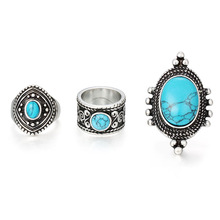 Fashion Jewelry Vintage Antique Silver Gold-color Personality Ring Sets Look Tibetan Blue Oval Blue Stone 3PCS Rings Hot Sale