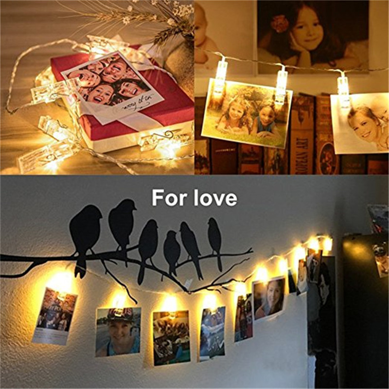 BHomify 1M 3M 4M Card Pictures Photos Clips Pegs Bright LED String Light Battery Power Indoor Home Party Festival Wedding Decor