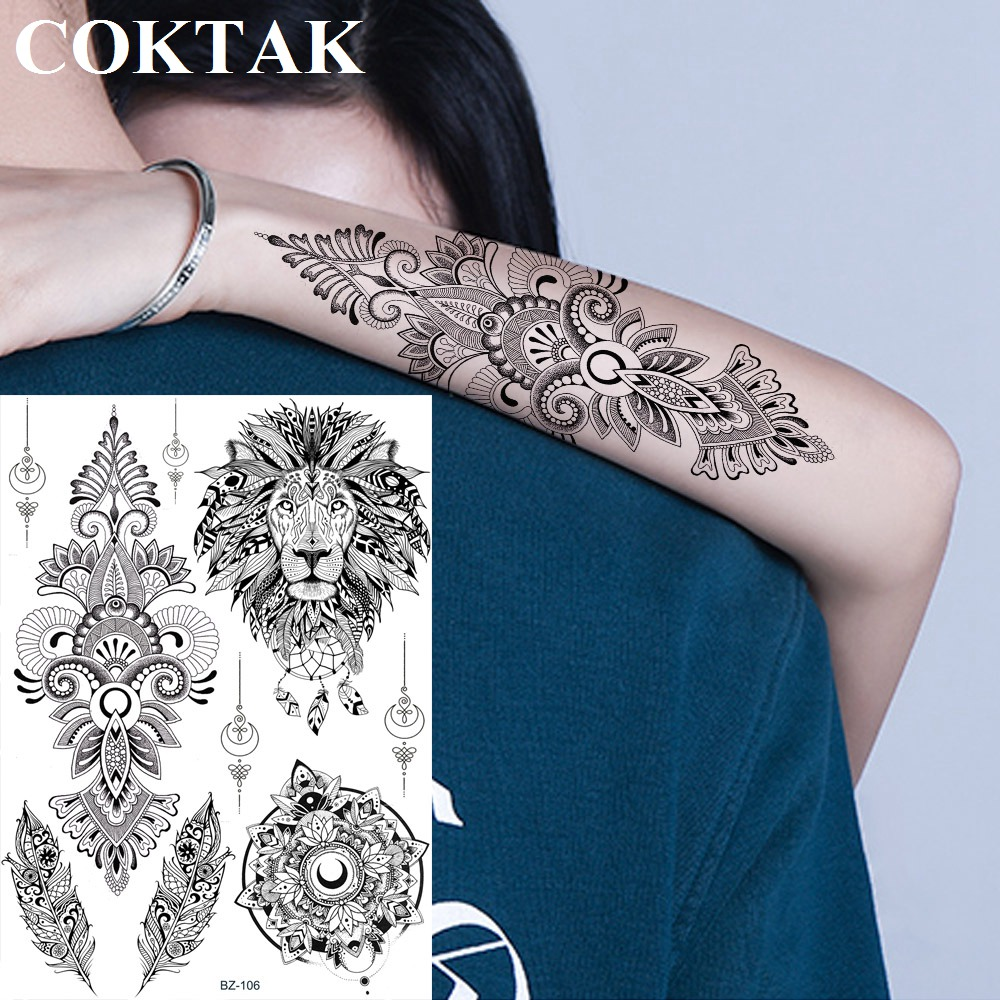 India Henna Mandala Flower Black Custom Lion Temporary Tattoo Stickers Totem Feather Women Fake Tatoos Lace Girls Body Arm Tato