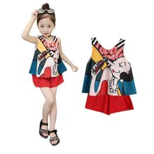 Casual Children Cloting Sets Cute Print Vest Skirt Chiffon Blouse+ Pants Girls Clothing Sets Kids Summer Suit For 1-6 T(China)
