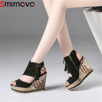 Smirnova 2020 fashion summer new arrival shoes woman platform wedges shoes cross tied sandals women suede leather prom shoes