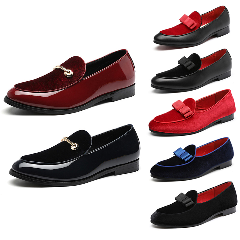 3 Styles Men Formal Wedding   Leather   Shoes 2019 Fashion Bowknot   Suede   Loafers Male Flats Gentlemen Casual Slip on   Leather   Shoes