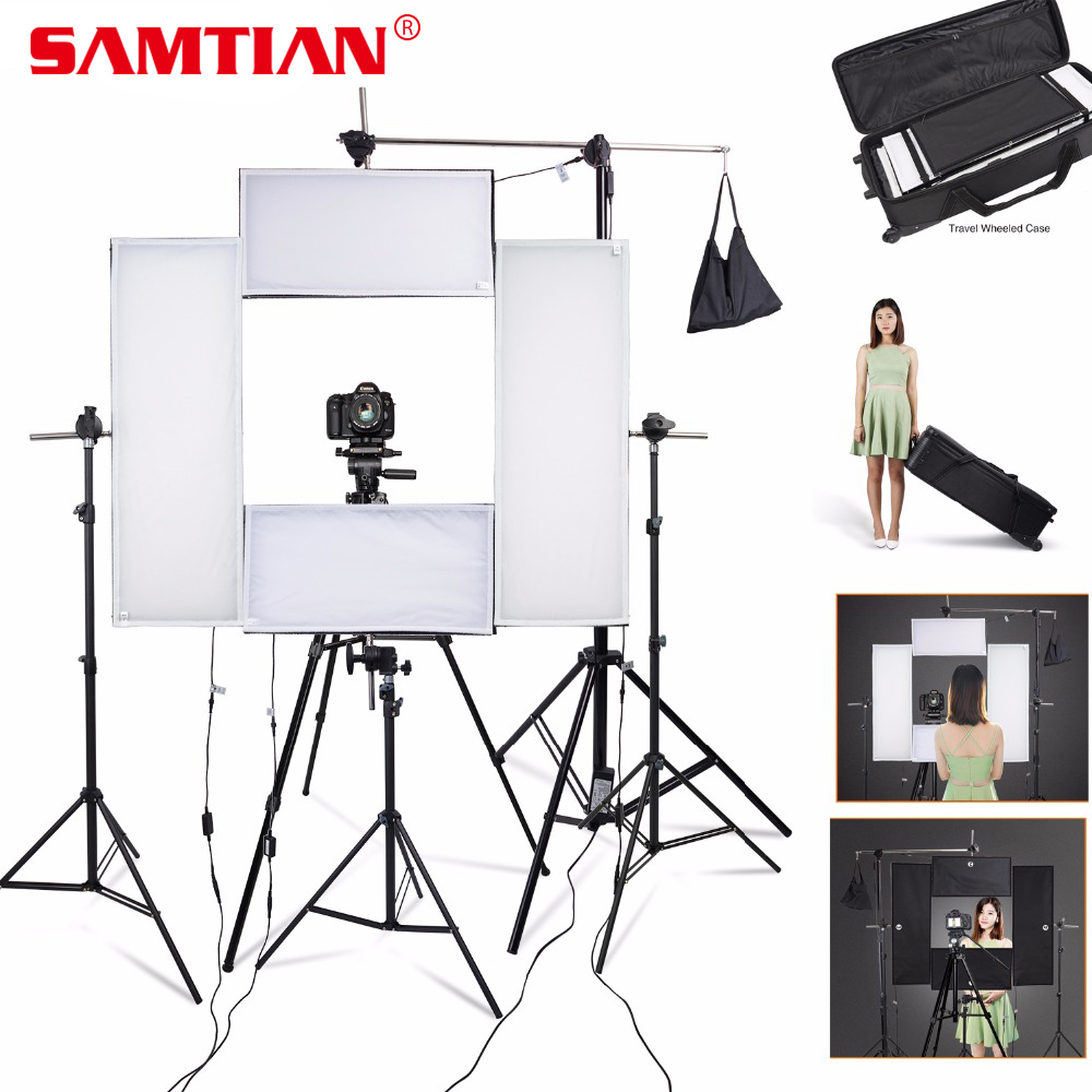 SAMTIAN 4Pcs/set Photography Headshot Lighting Kit 951PCS LED Photo Studio Video Light With Light Stand Wireless Remote ControlSAMTIAN 4Pcs/set Photography Headshot Lighting Kit 951PCS LED Photo Studio Video Light With Light Stand Wireless Remote Control