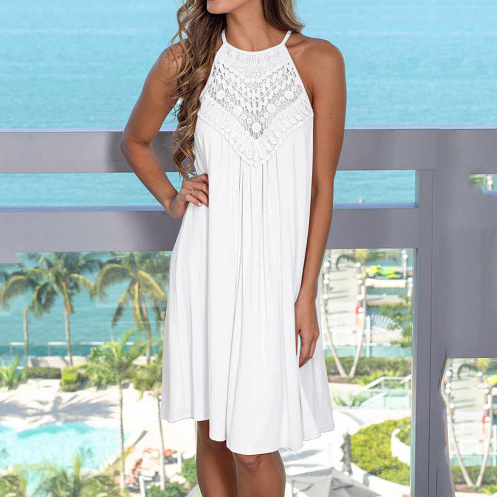 Women Dress Sleeveless Hollow Out Dresses Casual Lace Patchwork Solid White Loose Hem Casual Dress vestidos Dames Jurken Vestido