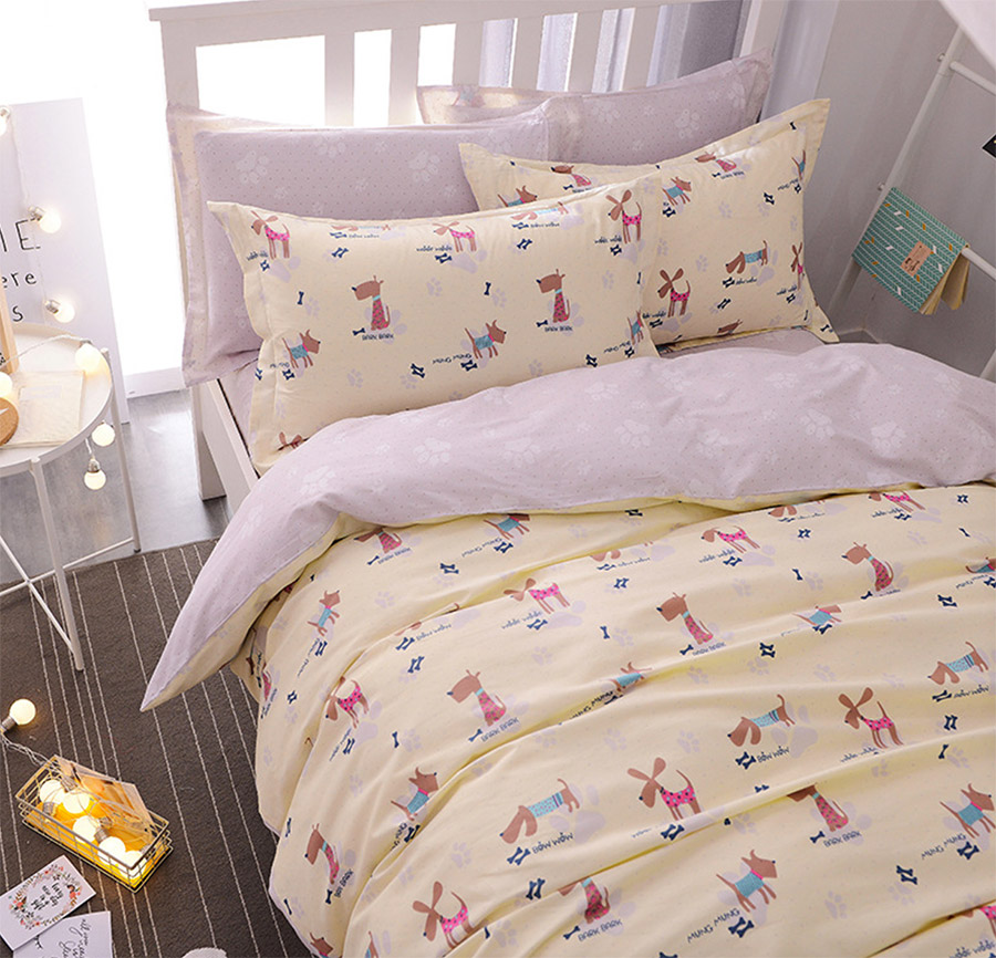 cute cartoon dog single double bedding set teen kid100cotton twin full queen home textile bed sheet pillow case quilt cover - Kid Sheets
