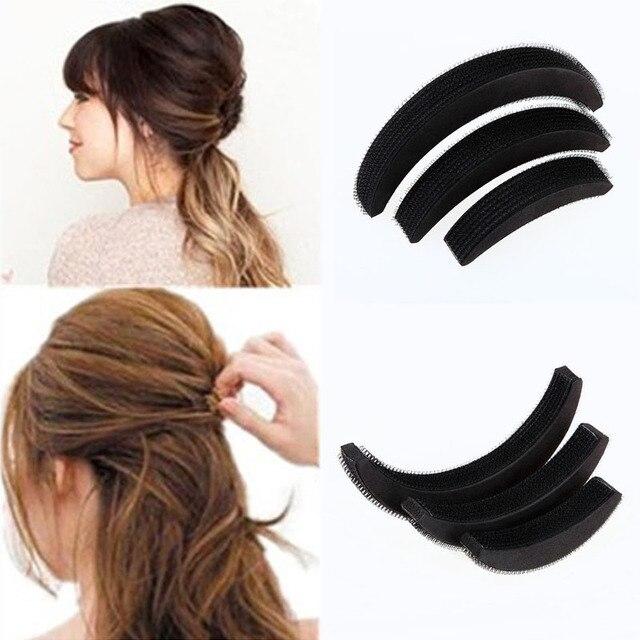 3 Pcs 다른 크기 푹신한 초승달 클립은 붙여 넣기 루트 머리카락 증가 장치 좋은 머리카락 Heighten 도구 여자 2 S