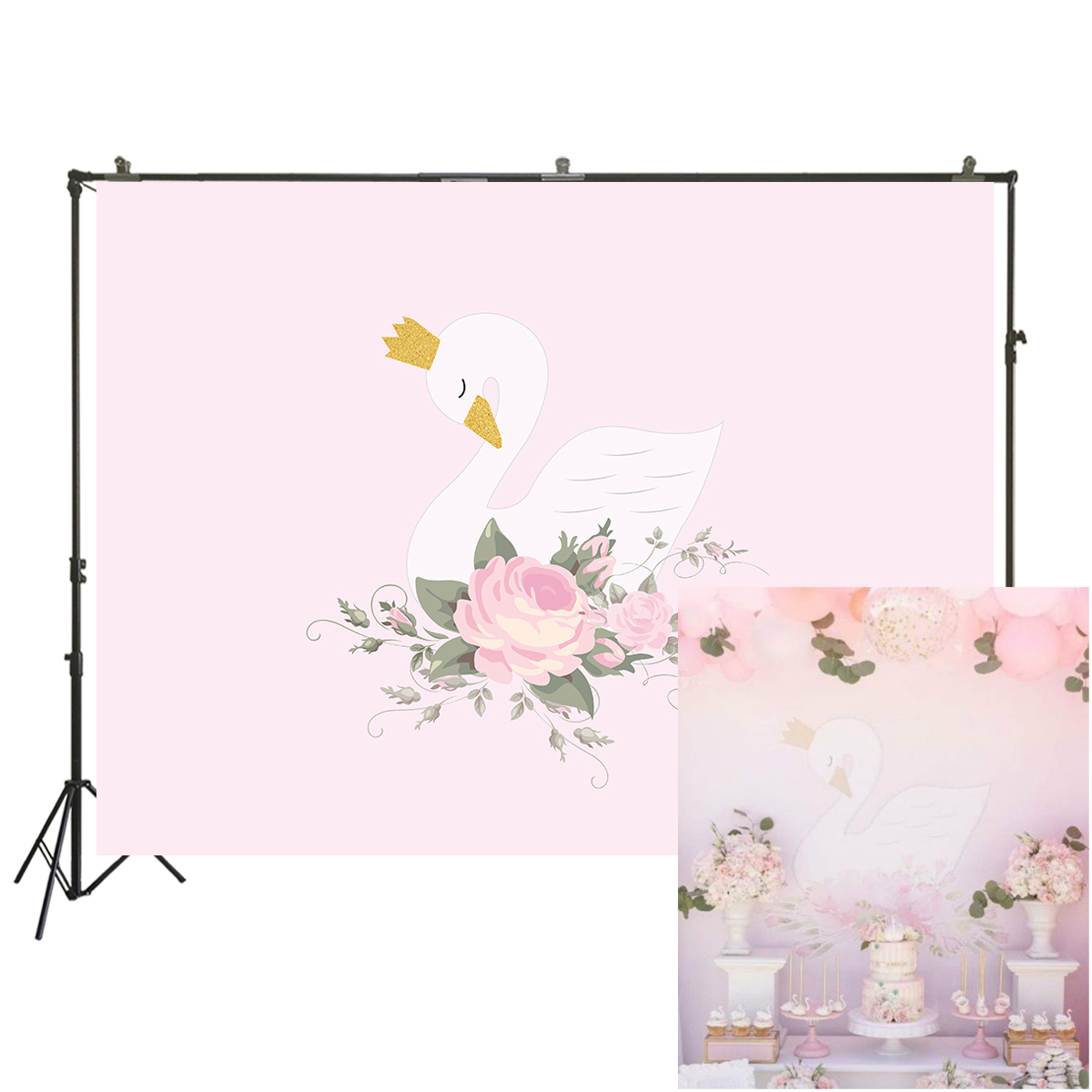 White Swan Pink Flowers Backdrops for Photography Birthday Party Decoration Cake Dessert Banner Baby Shower Studio Props W-1893
