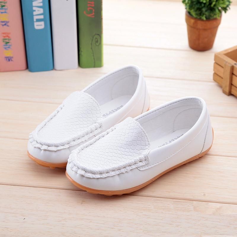 Soft bottom boys girls leather shoes flat with fashioin causal child spring autumn leather shoes girls baby comfy shoe plus size