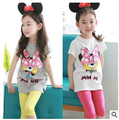 5% Children girl's set 2017 summer cartoon minnie short sleeve t-shirt+candy pant  two-piece/set 10558