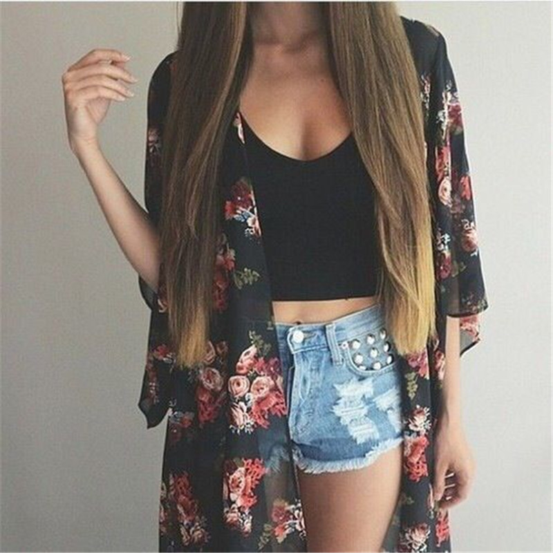 Women Casual Vintage Kimono Cardigan Ladies 2018 Summer Long Crochet Chiffon Kimono preto Loose flora printed Blouse Tops Black