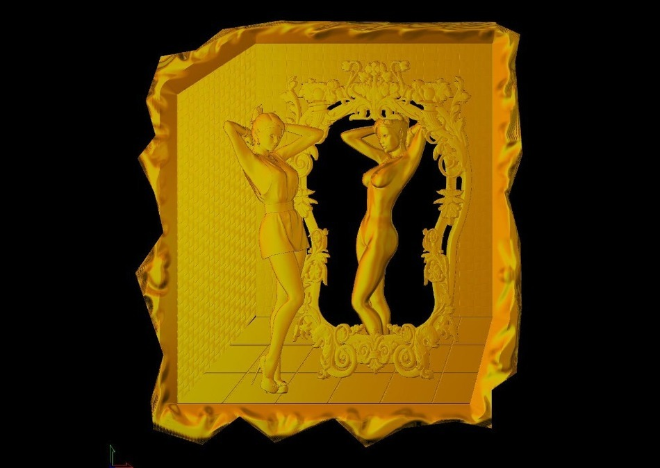 NEW 3d Model Relief  In STL File Format Clock For For Cnc Mirror