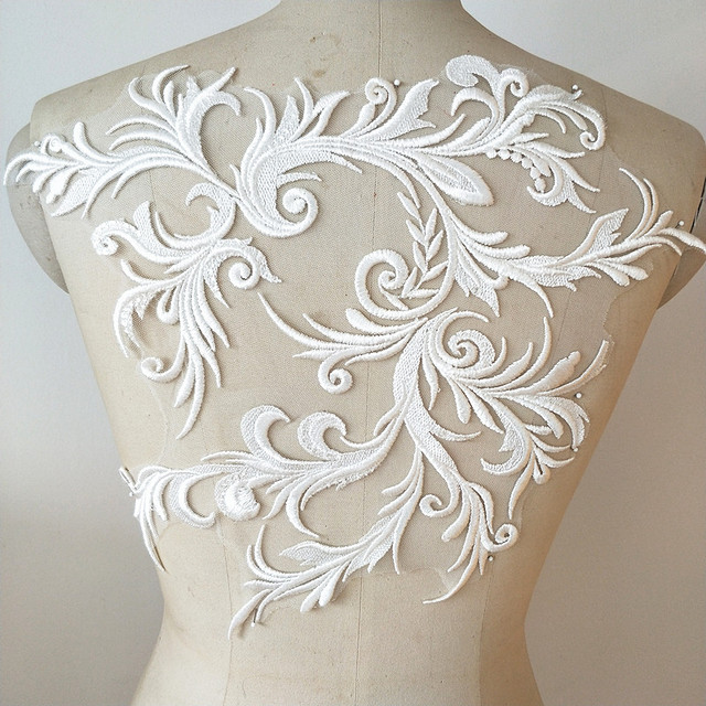 Us 66 Aliexpresscom Buy White European Dragon Sequins Embroidered Lace Flowers Patch Diy Wedding Dress Applique From Reliable Patches Suppliers