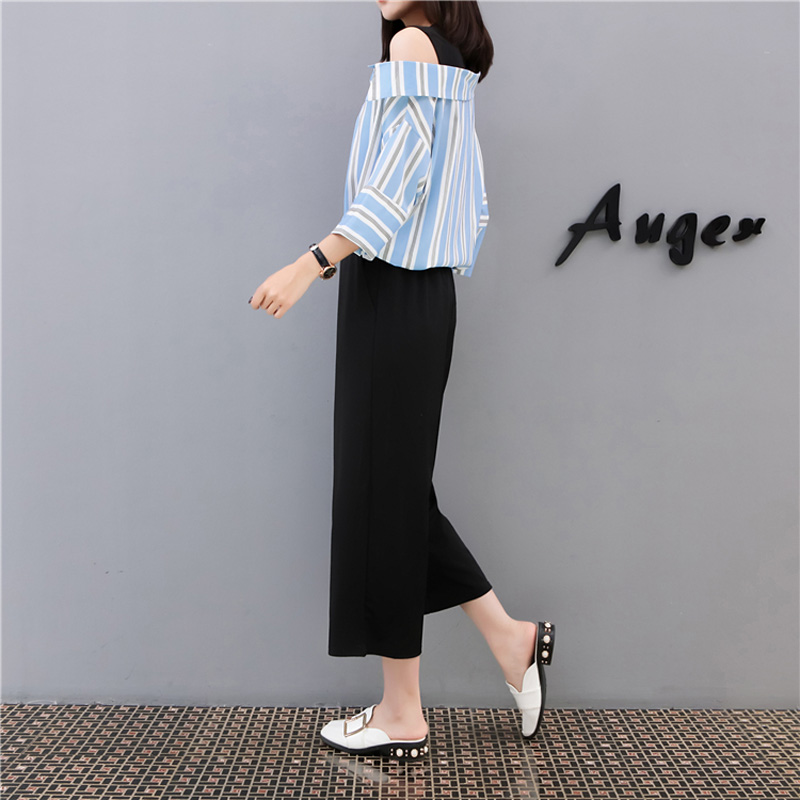 QoerliN Large Size 2 Two Piece Loose Office Lady Tops Pant Sets 2018 Summer Work Striped Blouse Elastic Waist Trouser Suit Women