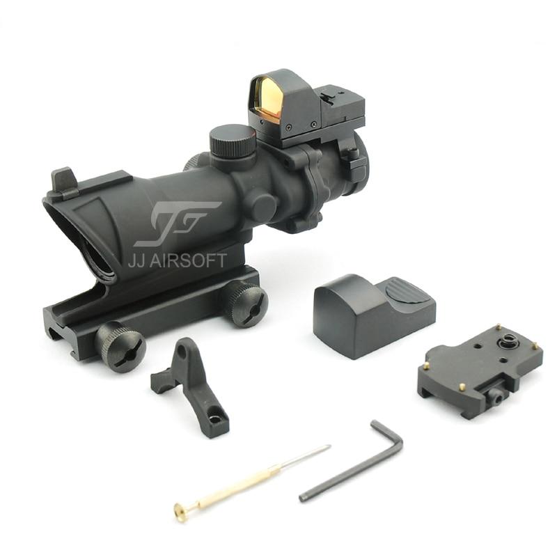 JJ Airsoft ACOG Style 4x32 Scope with Docter Mini Red Dot Light Sensor (Black) FREE SHIPPING nec um330w