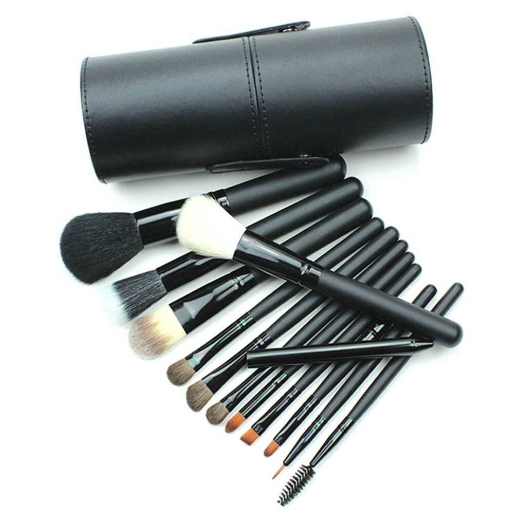 12 Pcs Black Nylon Hair Makeup Brush High grade Wool PU Tube Elegant Eye Shadow Brush Blush Eyeliner Brush Set in Eye Shadow Applicator from Beauty Health