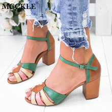 Summer Sandals Women Ankle Buckle High Heels Sexy Female Peep Toe Fashion Sandalias Mixed Color Ladies Shoes Plus Size asumer gold light purple fashion summer ladies prom shoes peep toe buckle elegant super high women high heels sandals size 44
