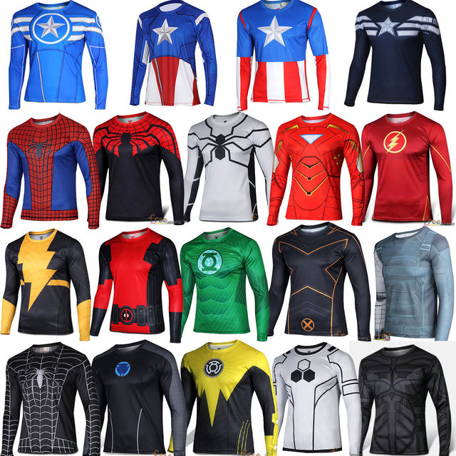 aa752df00 Marvel Super Heroes Avenger 3D Captain America Deadpool Costume Fitness T  shirt Men Compression wear Armour Thermal Under Tee