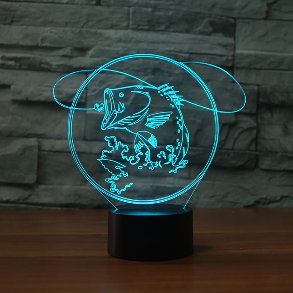 3D LED Big Fish To Catch Table Lamp 7 Color USB Bedroom Office Home Decoration Fishing Enthusiast Night Light Light Fixture Gift
