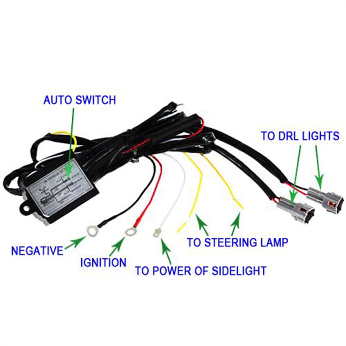drl led daytime running light relay harness automatic on off control switch 12v warning lights  [ 1200 x 1200 Pixel ]