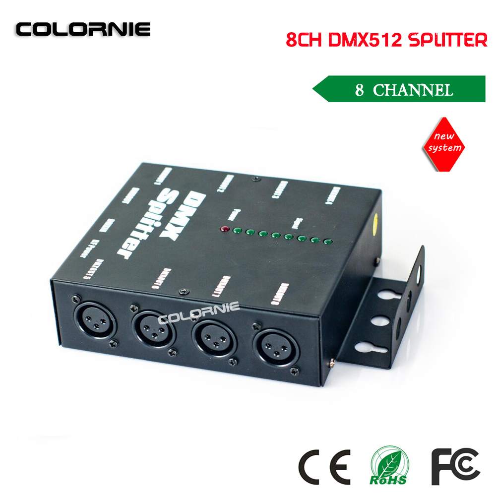 Free shipping HOT sale DMX 8 Channel DMX Splitter DMX512 Light Stage Lights Signal Amplifier Splitter 8 way DMX Distributor dhl fedex free shipping best quality 8ch dmx splitter dmx512 light stage lights signal amplifier splitter 8 way dmx distributor