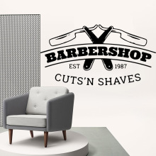 Cartoon barber shop Removable Art Vinyl Wall Stickers For Home Decor Living Room Bedroom MURAL Drop Shipping