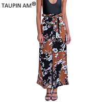 TAUPIN AM Women Trousers Casual High Waist Harem Pants Print Bow Tie Loose Trousers Bottoms Elastic