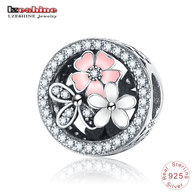 LZESHINE Antique 925 Sterling Silver Sparkling CZ Poetic Blooms Beads Fit Original Charm Bracelets Flower Jewelry Gift PSMB0920