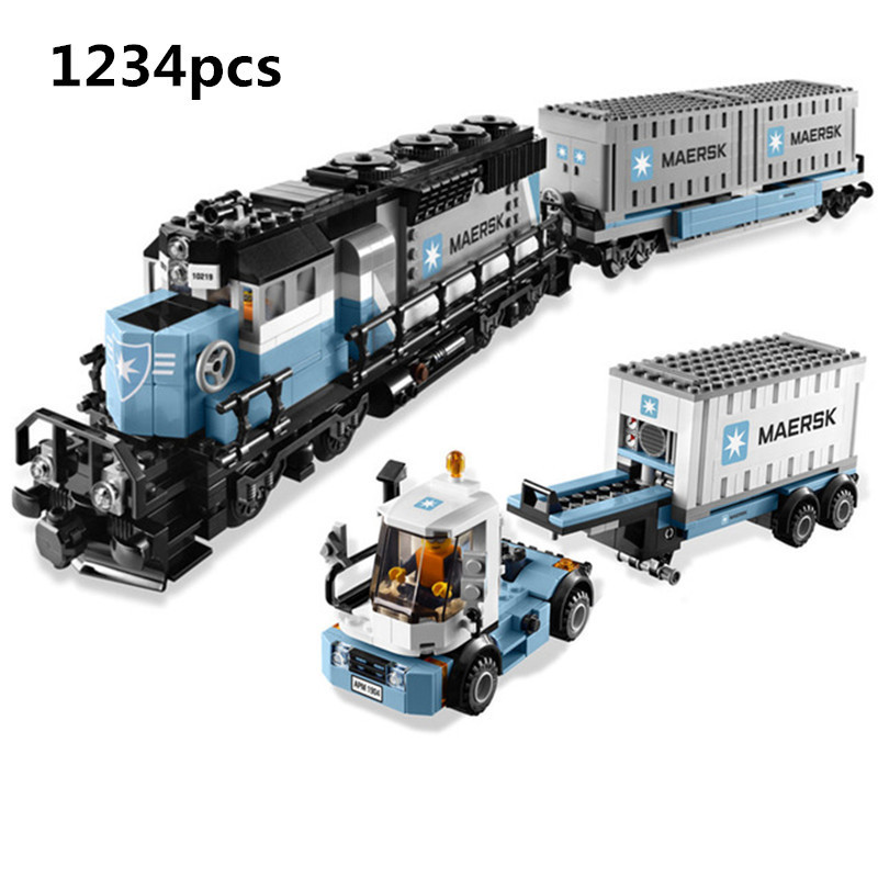 H&HXY 21006 1234pcs New Genuine Technic Ultimate Series The Maersk Train Set Lepin Building Blocks Bricks Toys 10219 Gift lepin 21006 legoing 1234pcs genuine technic ultimate series the maersk train set building blocks bricks educational toys 10219