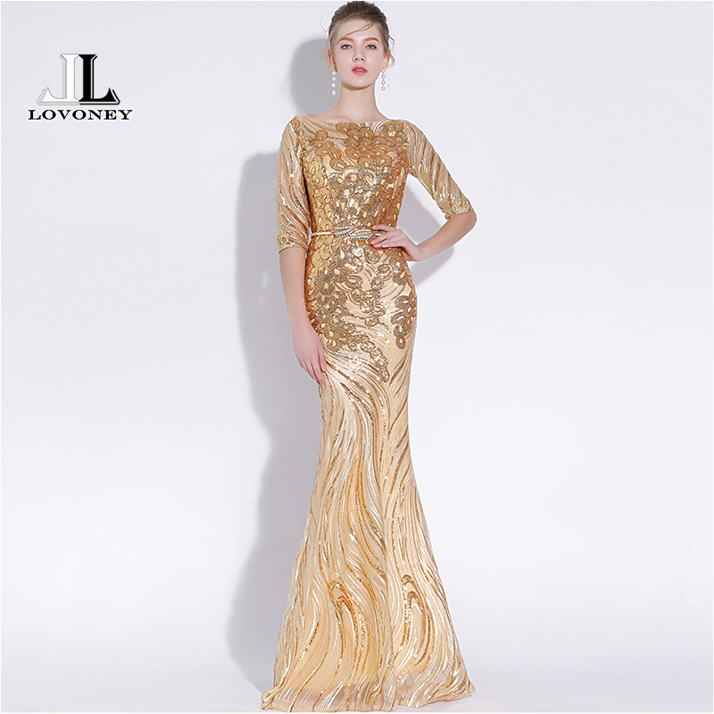 LOVONEY Sexy Mermaid Evening Dresses Long Half Sleeves Sequins Prom Gown Golden Formal Dress Women Occasion Party Dresses YS428 gown