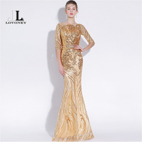 LOVONEY Sexy Mermaid Evening Dresses Long Half Sleeves Sequins Prom Gown Golden Formal Dress Women Occasion Party Dresses YS428