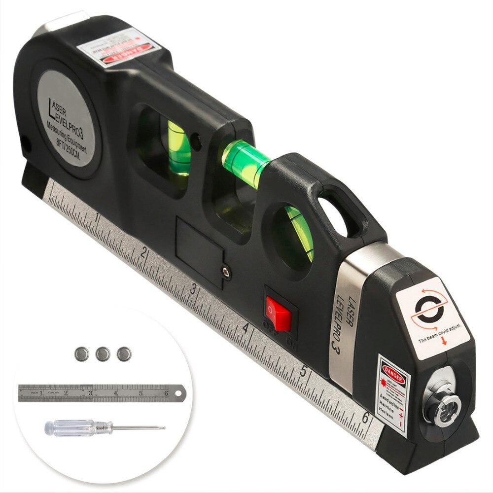Multipurpose Level Laser Horizon Vertical Measure Tape 8FT Aligner Bubbles Ruler Tool for Hanging Pictures Laying Flooring