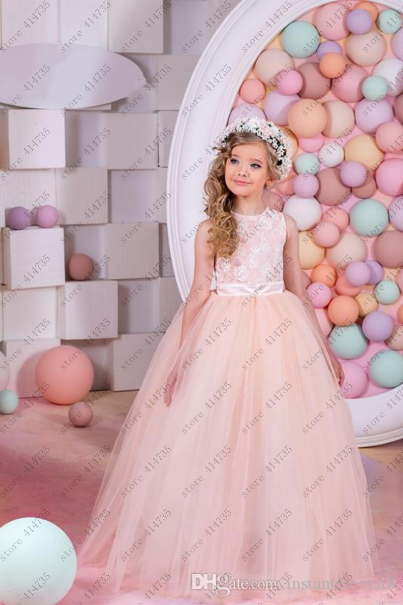 2019 Cute   flower     girl     dresses   for weddings lace vestido primera comunion 2-14 ball gowns for   girls