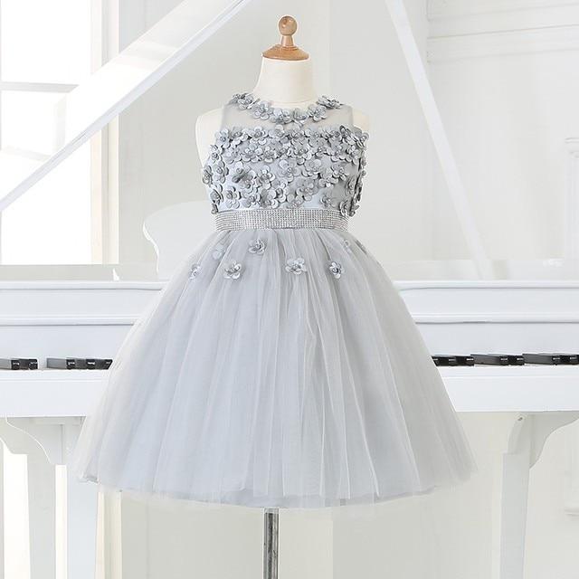 2016 silber tüll Prinzessin Girl Party Kleider Perlen Appliques Tutu ...