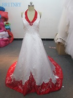 BRITNRY White and Red Wedding Dress Elegant Halter Embroidery Beading A Line Bridal Dresses 2018 Real Photos