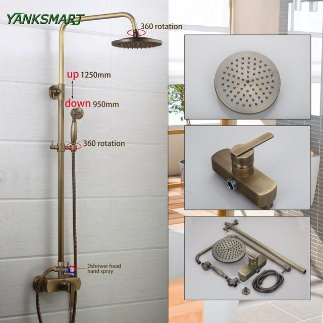 YANKSMART Flexible Retro Vintage Brass Wall Mount 8 Inches Shower Head + Control  Valve Hand Sprayer