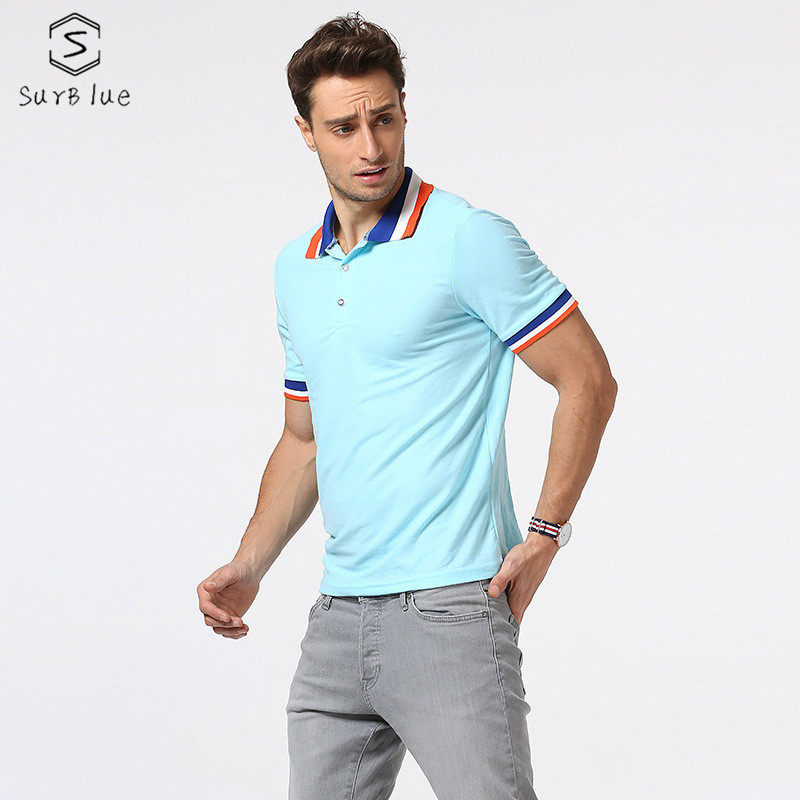Polo   Shirts Fashion Casual Wild Color Contrast Screw Stitching Collar   Polo   Shirts Short-Sleeved   Polo   Shirt