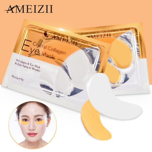 AMEIZII 2Pcs=1Pair 24K Gold Crystal Collagen Eye Mask Eye Patches For Eye Care Dark Circles Remove Anti-Aging Wrinkle Skin Care 3