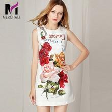 High Quality Short Dress Runway Summer Womens Sleeveless Luxurious Diamonds Button Beading Floral Printed Jacquard Vest Dresses