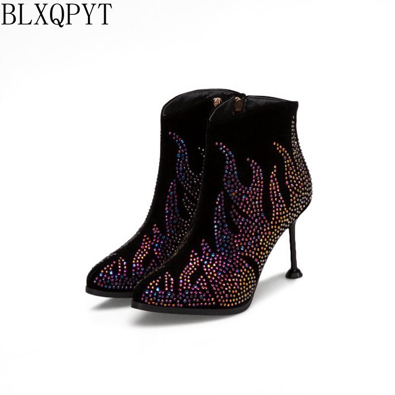 BLXQPYT New Big &small size 31-50 ankle boots Sexy high heels pointed toe Autumn Winter quality pumps wedding shoes woman T059 summer bling thin heels pumps pointed toe fashion sexy high heels boots 2016 new big size 41 42 43 pumps 20161217