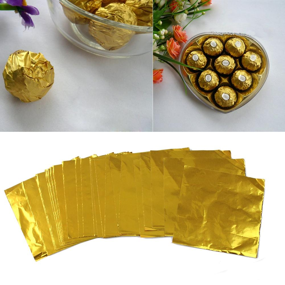 200Pcs Gold Aluminum Foil Square Candy Package Wrapper Chocolate