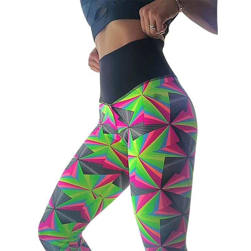 edc01e8a476c21 Goedkope 2019 Nieuwe mode vrouwen leggings kleur geometrische print fitness  sport slanke sexy hoge taille stretch