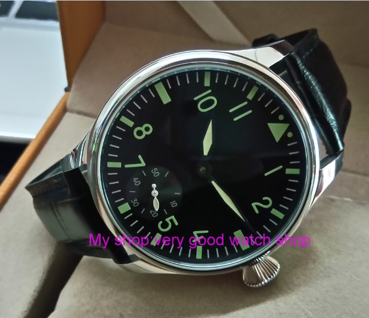 green luminous 44mm parnis 6498 / ST3621 17 jewels Mechanical Hand Wind movement butterfly buckle mens watches 375Agreen luminous 44mm parnis 6498 / ST3621 17 jewels Mechanical Hand Wind movement butterfly buckle mens watches 375A