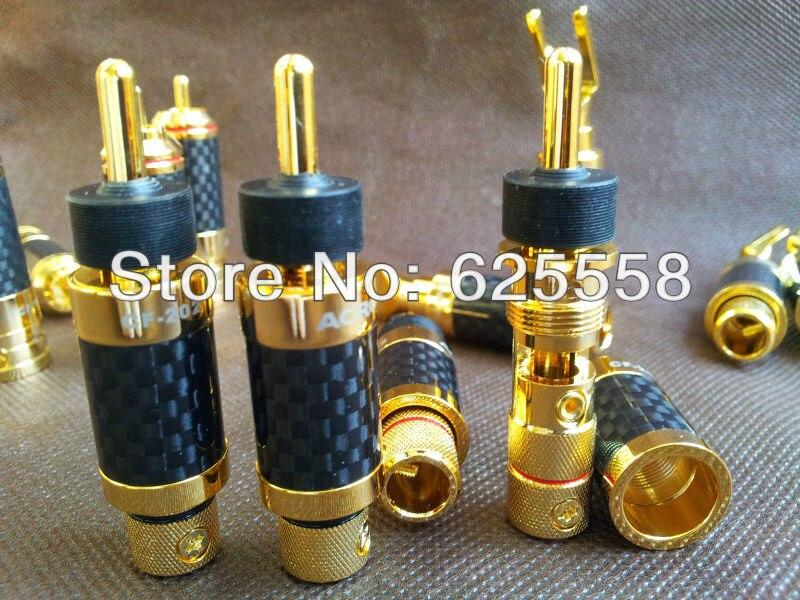 4PCS Speaker Cable Banana Plug Pure Copper Gold Plated Carbon Fiber HI-END цена и фото
