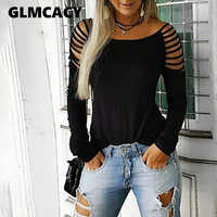 Women Leopard Print Black T Shirt Ladder Cut Out Long Sleeve T-shirt Casual O Neck Summer Tee Tops