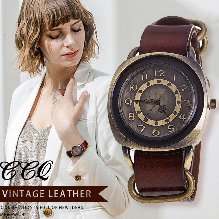 CCQ Marke Unisex Frauen Männer Fashion Vintage Kuh Leder Armband Uhren Casual Frauen Männer Quarzuhr Relogio Feminino Hot