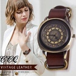 Ccq marca unissex moda masculina do vintage vaca pulseira de couro relógios casuais feminino relógio de quartzo relogio feminino quente
