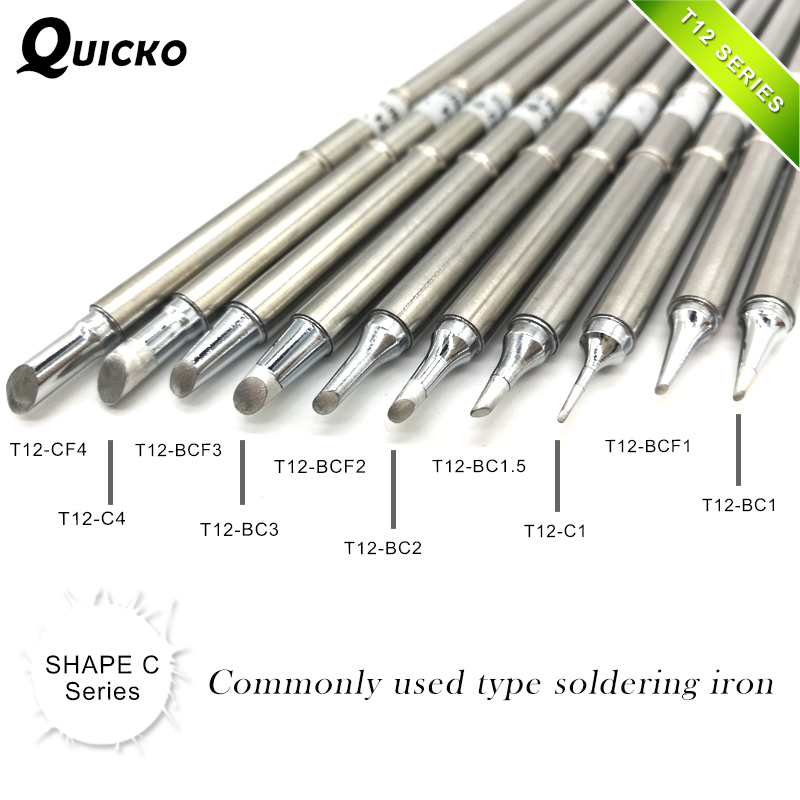 SHAPE C Series T12-CF4 T12-C4 BCF3 BC3 T12-BCF2  BC2 T12-BC1.5 C1 BCF1 BC1 Solder Iron Tips For Soldering FX951 952 STC