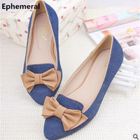 Plus size EU34-46 Ladies European and American style Denim Pointed toe Bow Women Single Casual Flats Dancing Kvoll Shoes Blue