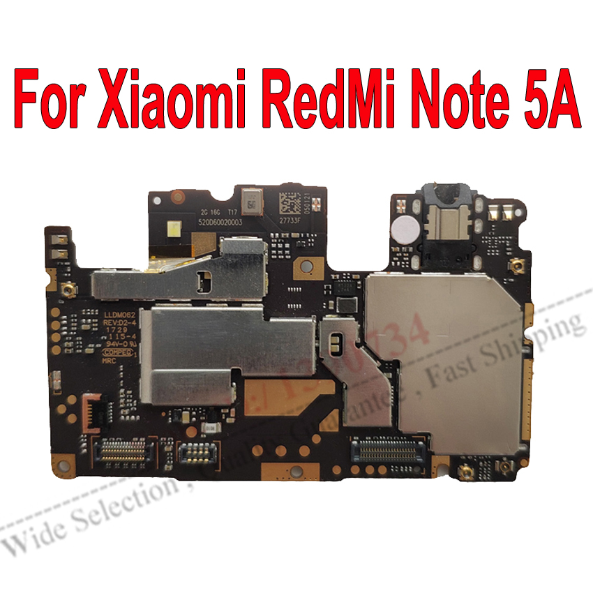 Global Firmware Original Electronic Mainboard For Xiaomi RedMi Note5A Hongmi Note 5A Motherboard Unlock Circuits Fee Flex Cable